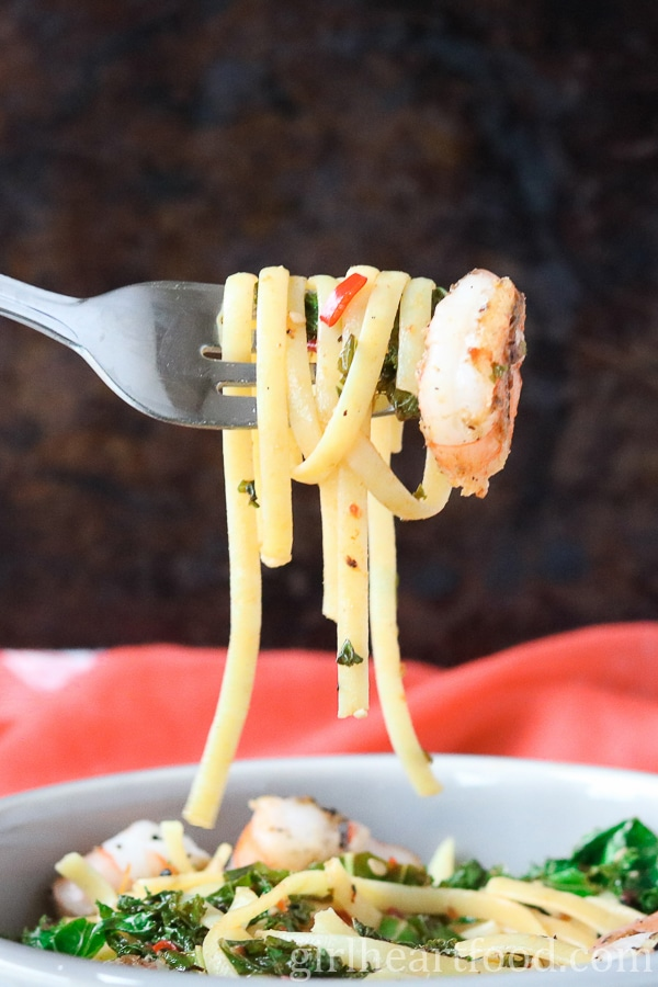 Chili Shrimp Pasta for One - an easy weekday dinner made in about 15 minutes - girlheartfood.com