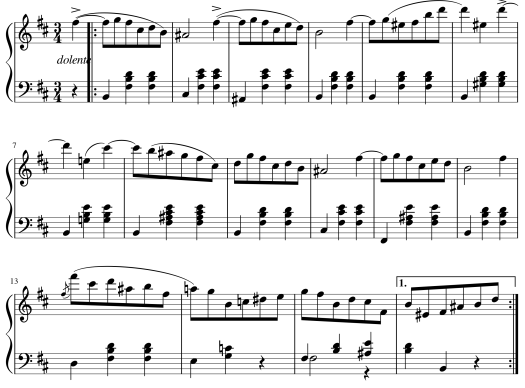Shown are the first 16 measures of Chopin's Waltz in B Minor, Op. 69 No. 2