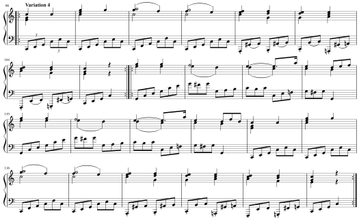 Sheet music for Variation 4 from Mozart's 12 Variations on Twinkle Twinkle Little Star