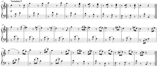 Sheet music for Variation 5 of Mozart's 12 Variations on Twinkle Twinkle Little Star