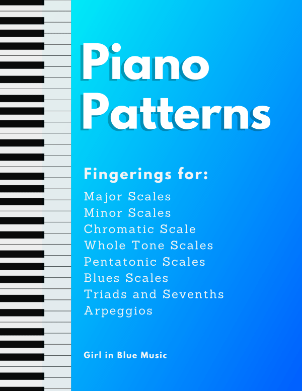 Piano Patterns cover. Piano Fingerings for Major and minor scales, chromatic scales, whole tone scales, pentatonic scales, blues scales, block chords, triad and seventh arpeggios. By Girl in Blue Music