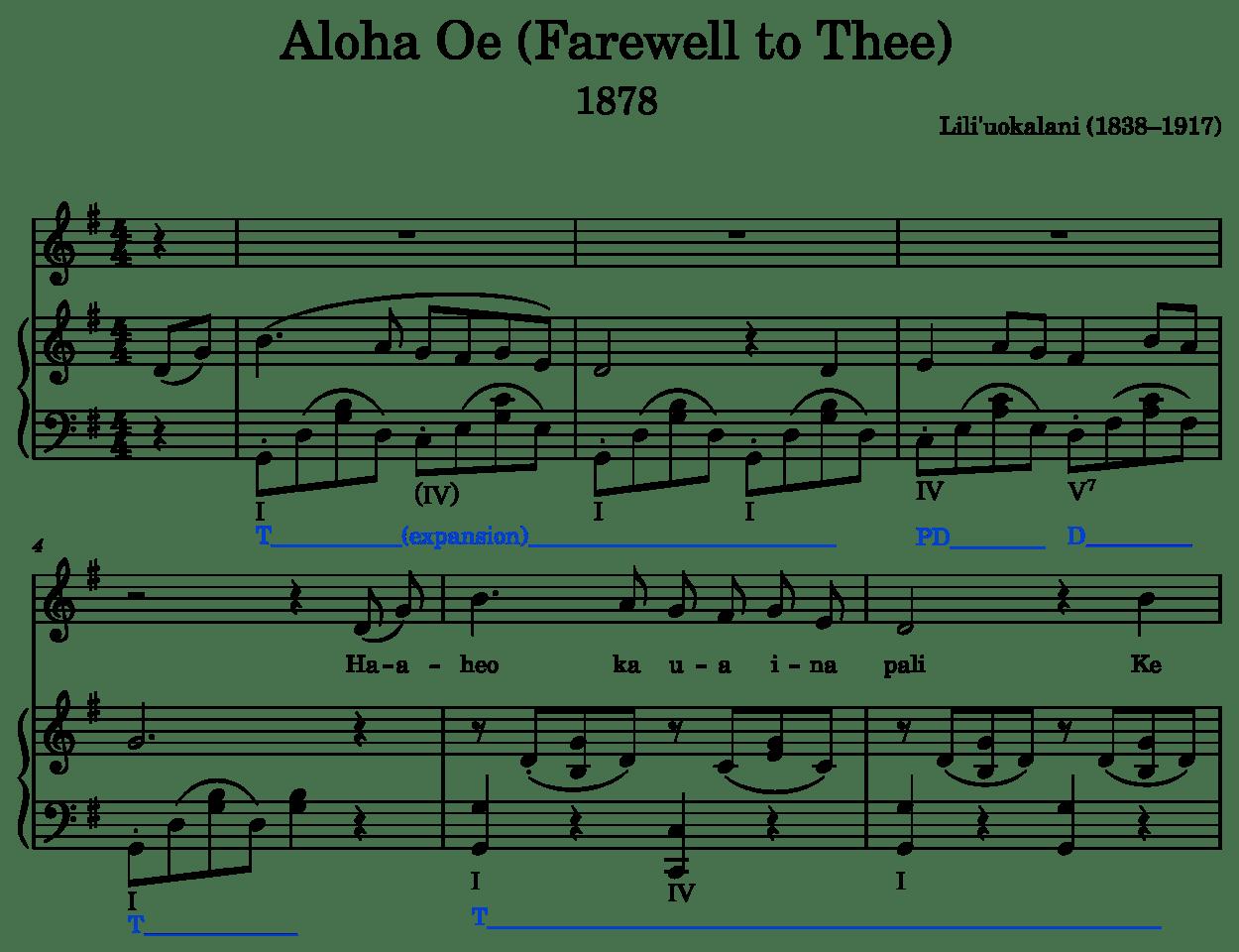Aloha Oe as an example of tonic expansion (prolongation)