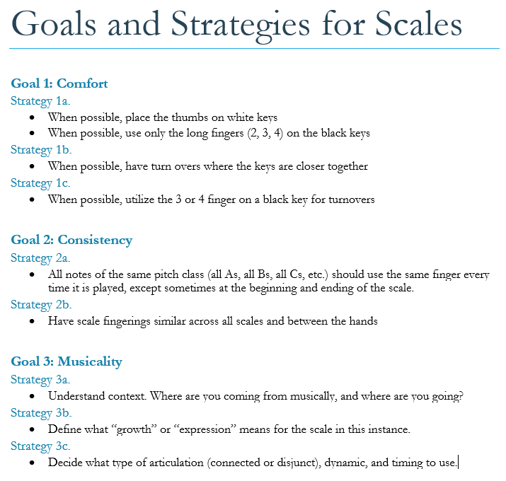 Piano fingering goals and strategies for all scales
