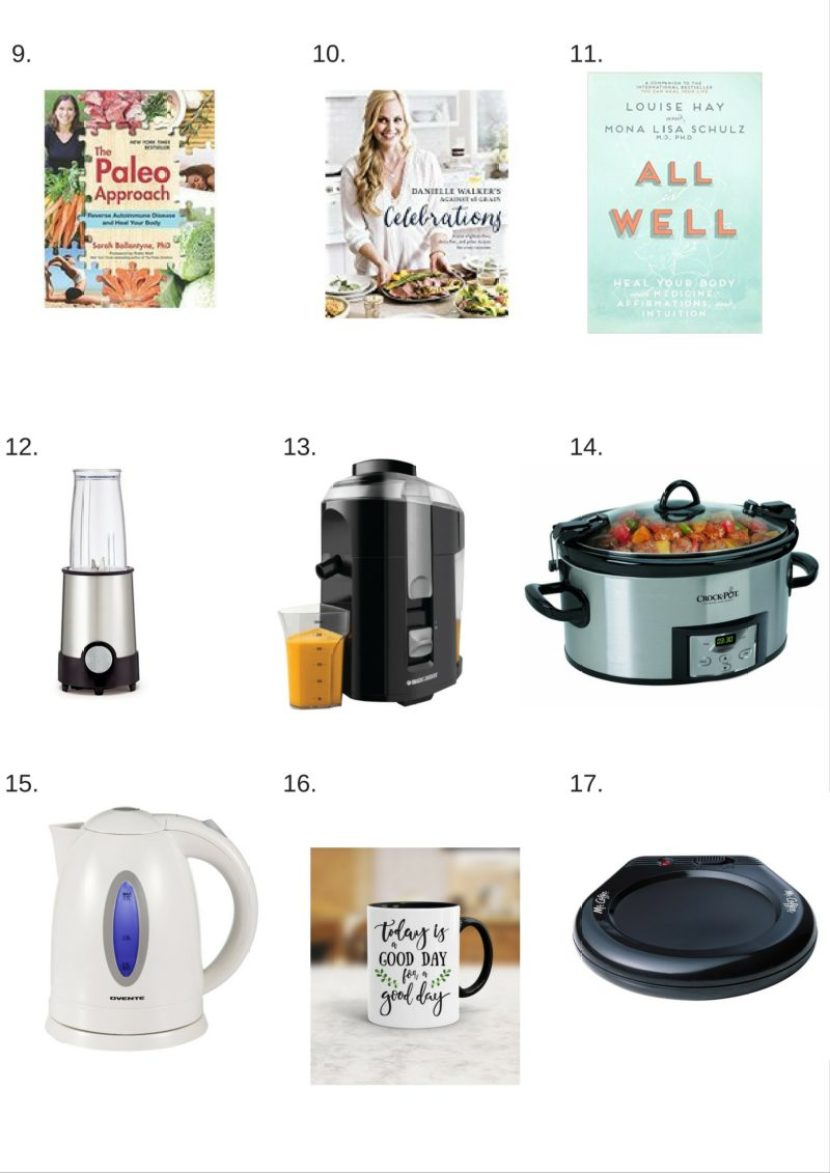 A wellness and self care gift guide including kitchen tools, books, heated devices, and more