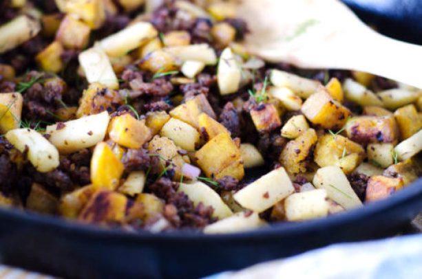 Paleo Plantain, Apple & Sausage Breakfast Hash