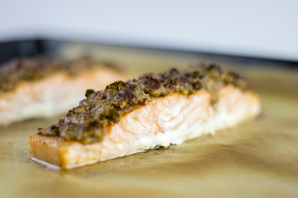 Maple Mustard Pecan Salmon (dairy free, paleo)