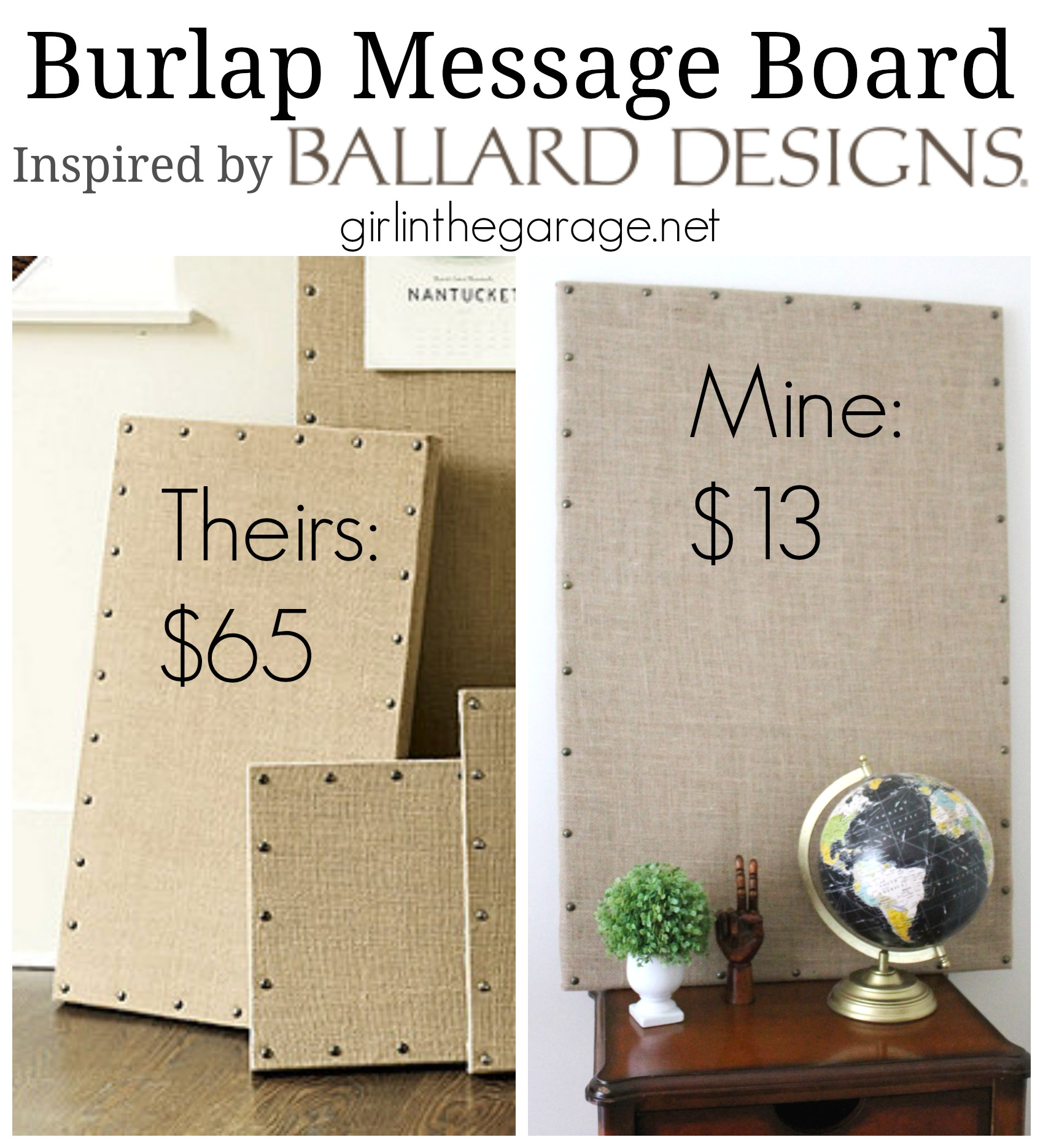 Burlap Message Board Inspired By Ballard Designs