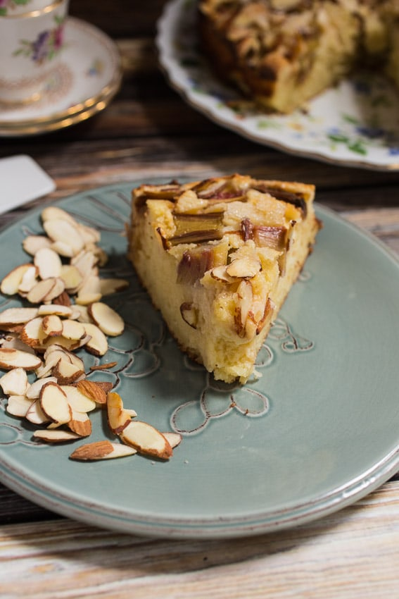 Rhubarb Ricotta Almond Cake | girlinthelittleredkitchen.com