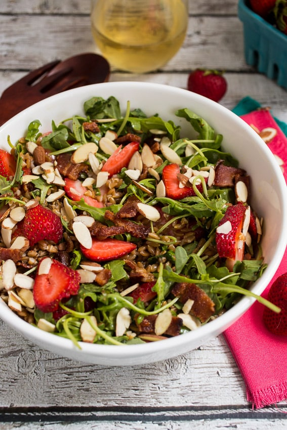 Strawberry Bacon Farro Salad | girlinthelittleredkitchen.com
