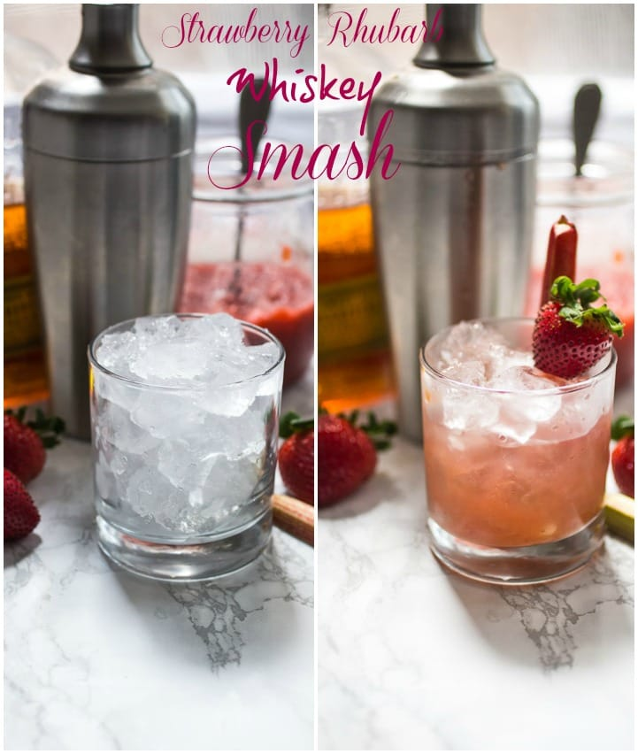 Strawberry Rhubarb Whiskey Smash   girlinthelittleredkitchen.com