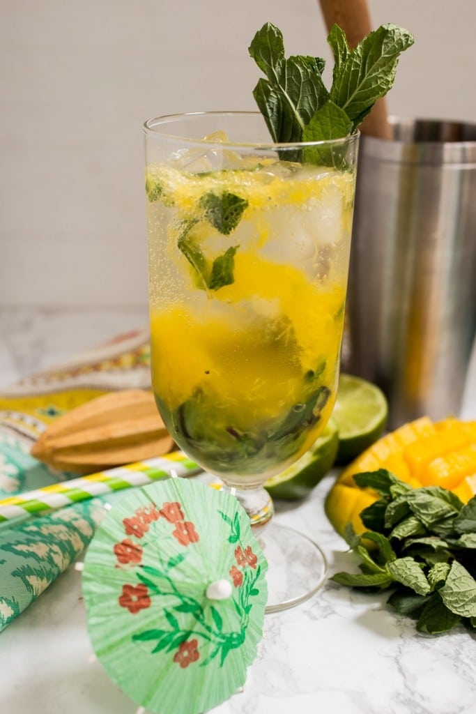 Mango Mojito - lazy girl version with muddle fresh mango, mint and rum from The Girl In The Little Red Kitchen