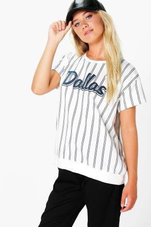 Roxy Stripe Slogan Short Sleeve Shirt