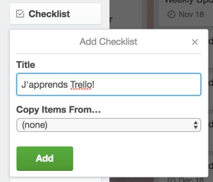 Creér Checklist Trello
