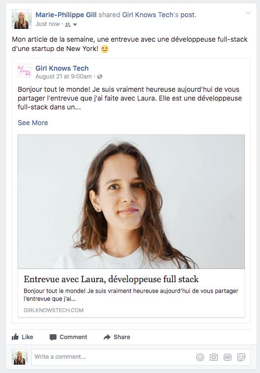 promotion article - partager ses articles sur son mur Facebook