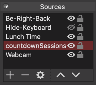 """Screenshot of the """"Sources"""" section on OBS"""