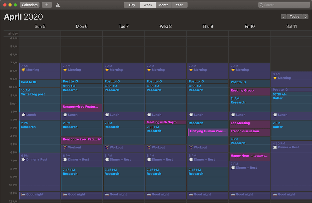Screenshot of a digital calendar with time blocks that plan when to eat, work, etc.