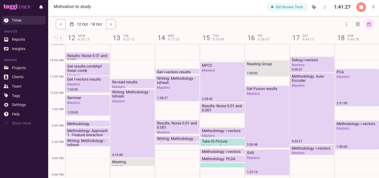 Screenshot of Toggl Track showing the calendar view and how much time each task required