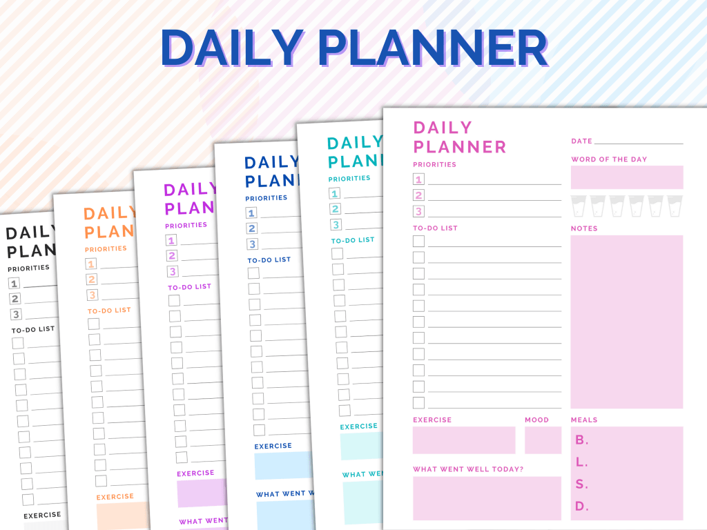 Image showing the daily planner with the 6 colors offered