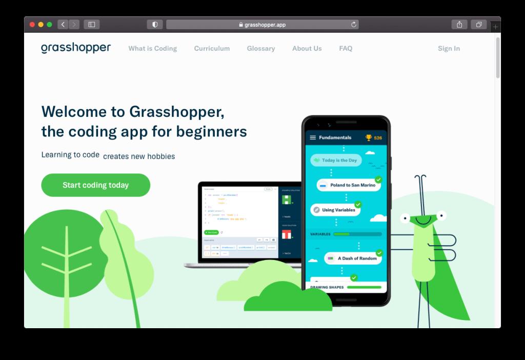 Capture d'écran de la page d'accueil du site web de Grasshopper, une application mobile développée par Google pour apprendre à coder.