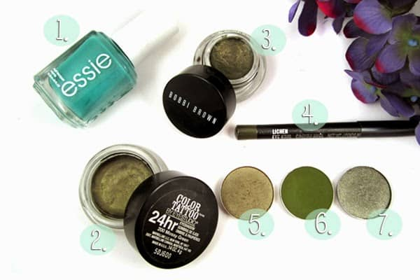 MAC Greensmoke, Sumptuous Olive, Maybelline Mossy Green, Bobbi Brown Forrest Shimmer Ink, Essie Naughty Nautical