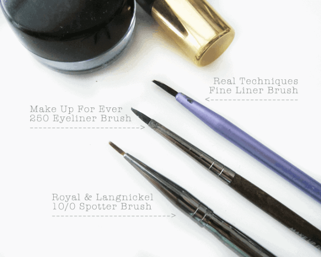 Royal and Langnickel eyeliner brush, Make Up For Ever 250 Brush, Real Techniques Fine  liner brush, winged eyeliner, cat eyeliner