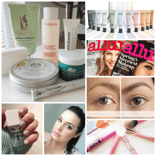 Weekend Blog Post Round Up, clarins, make up for ever, dipbrow, allure magazine, primers, nail polish, formula x, benefit, clarins, clinique, the body shop,