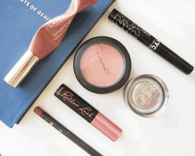 90s makeup, clarins instant light lip, benefit roller lash, mac blush prism, mac whirl lip pencil, nyc liquid liner