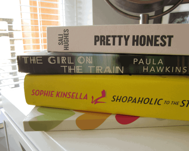 Girl on the Train by paula Hawkins, Shopaholic to the Stars by Sophie Kinsella, Pretty Honest by Sali Hughes
