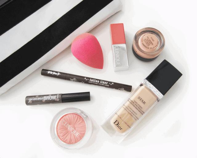 april 2015 makeup and beauty favourites. kat von d mad max brown, dior star foundation, benefit gimme brow, mac paint pot, beauty blender, clinique melon pop,