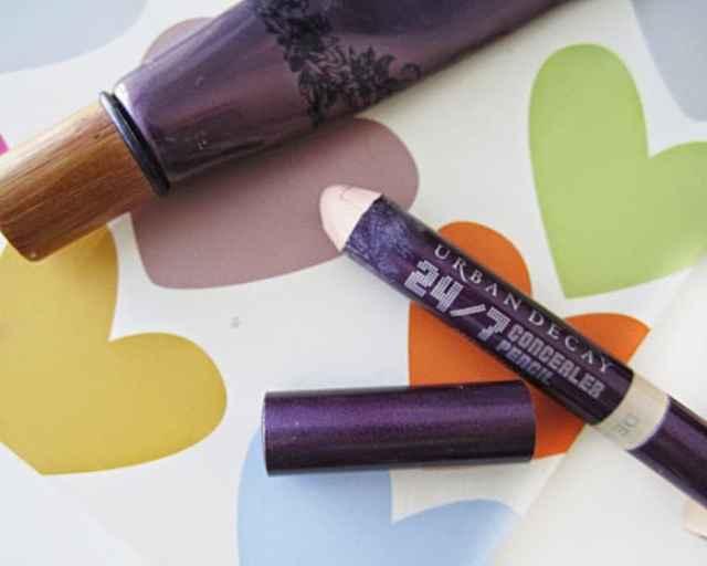 mac pro longwear, tarte maracuja creaseless concealer, benefit erase paste, urban decay 24/7 concealer pencil