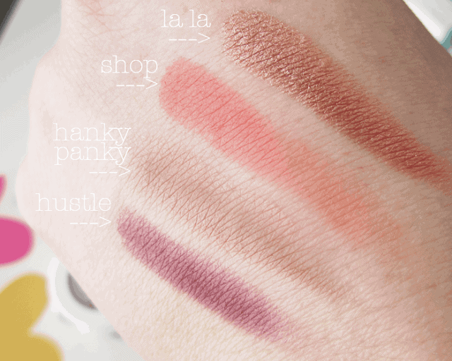 ColourPop cosmetics eyeshadow swatches, la la, shop, hanky panky, hustle