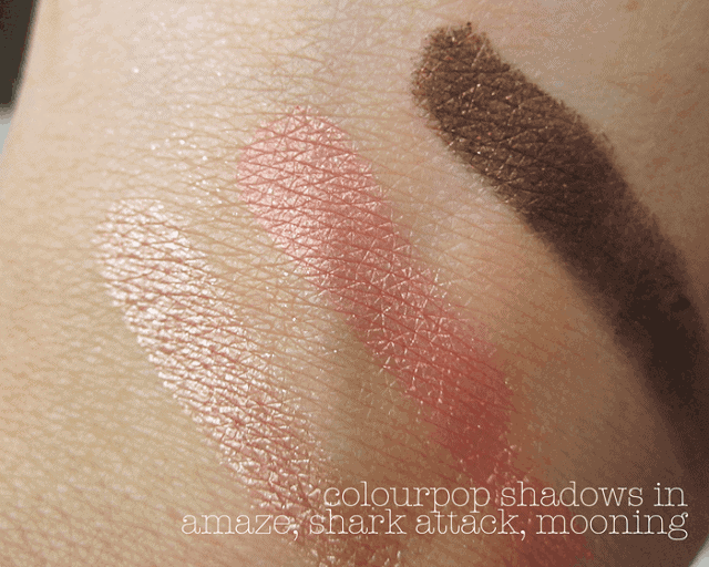 colourpop swatches amaze shark attack mooning