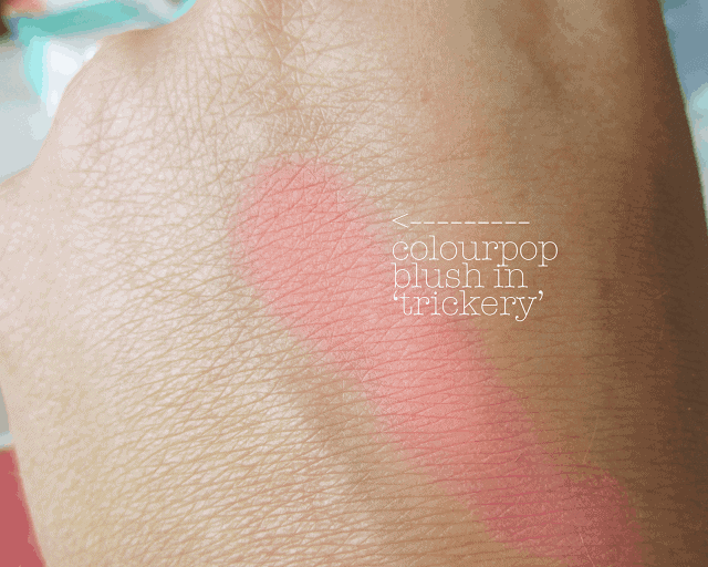 colourpop trickery blush swatch review