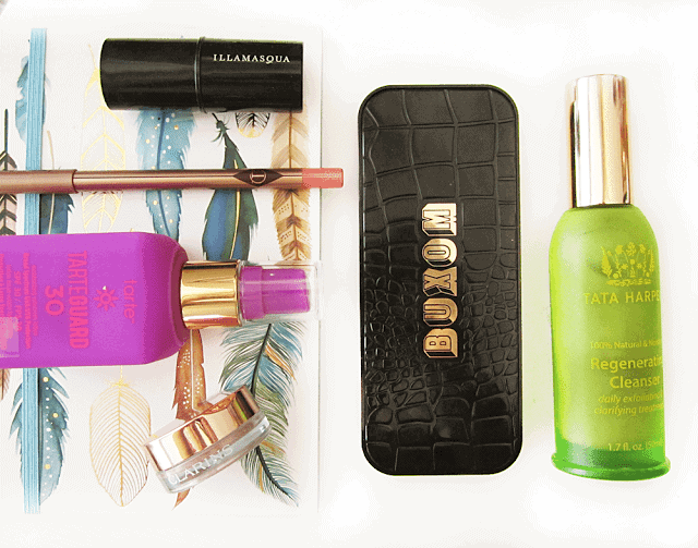 july 2015 beauty favourites, buxom eyeshadow bar, tata harper regenerating cleanser, illamasqua gel colour, charlotte tilbury pillow talk, tarteguard 30, clarins ombre iridescent