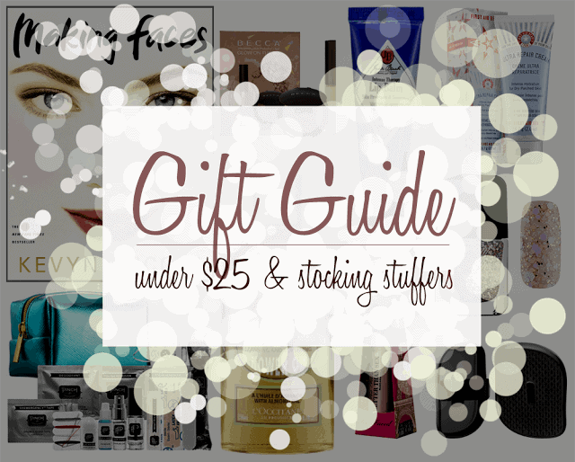 Under $25 Gift Guide, Too Faced, First Aid Beauty, Jack Black, Kevyn Aucoin, Becca, Loccitane, Tangel Teezer, Formula X