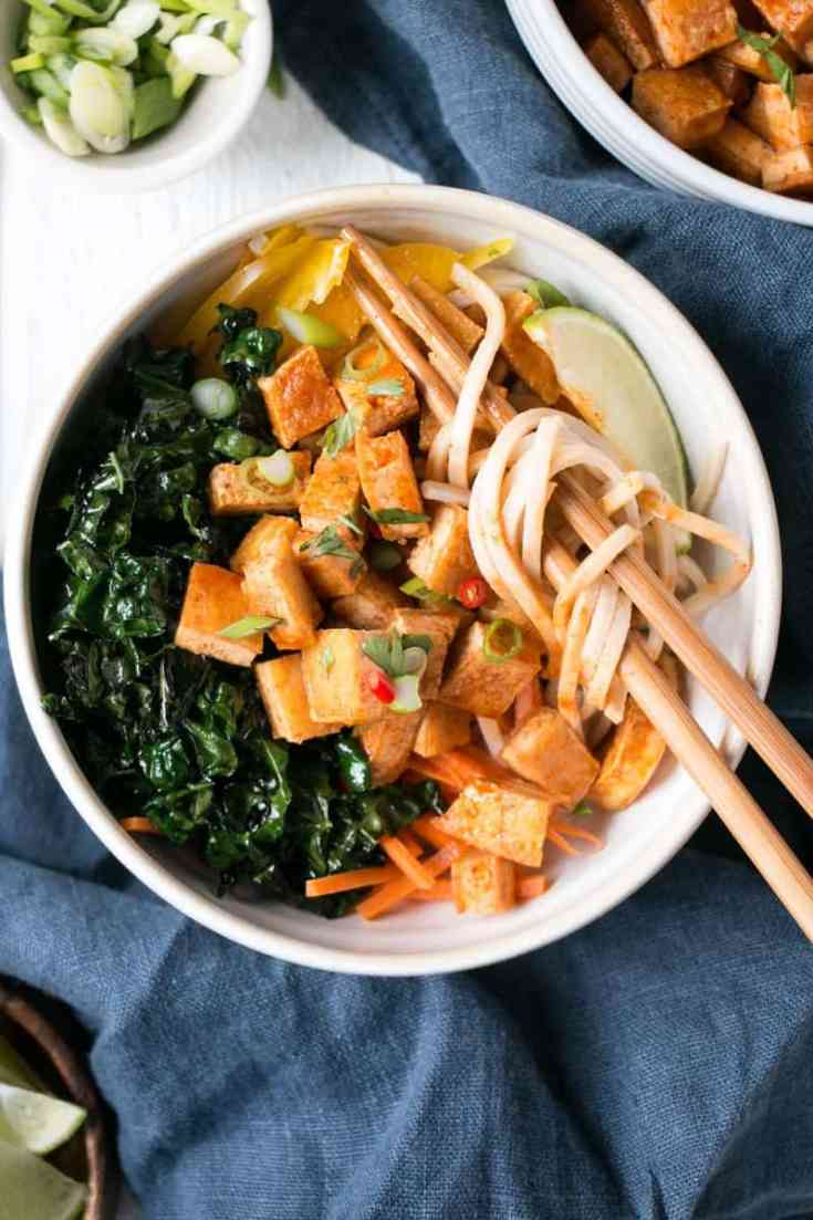 Spicy Crispy Tofu with Soba Noodles