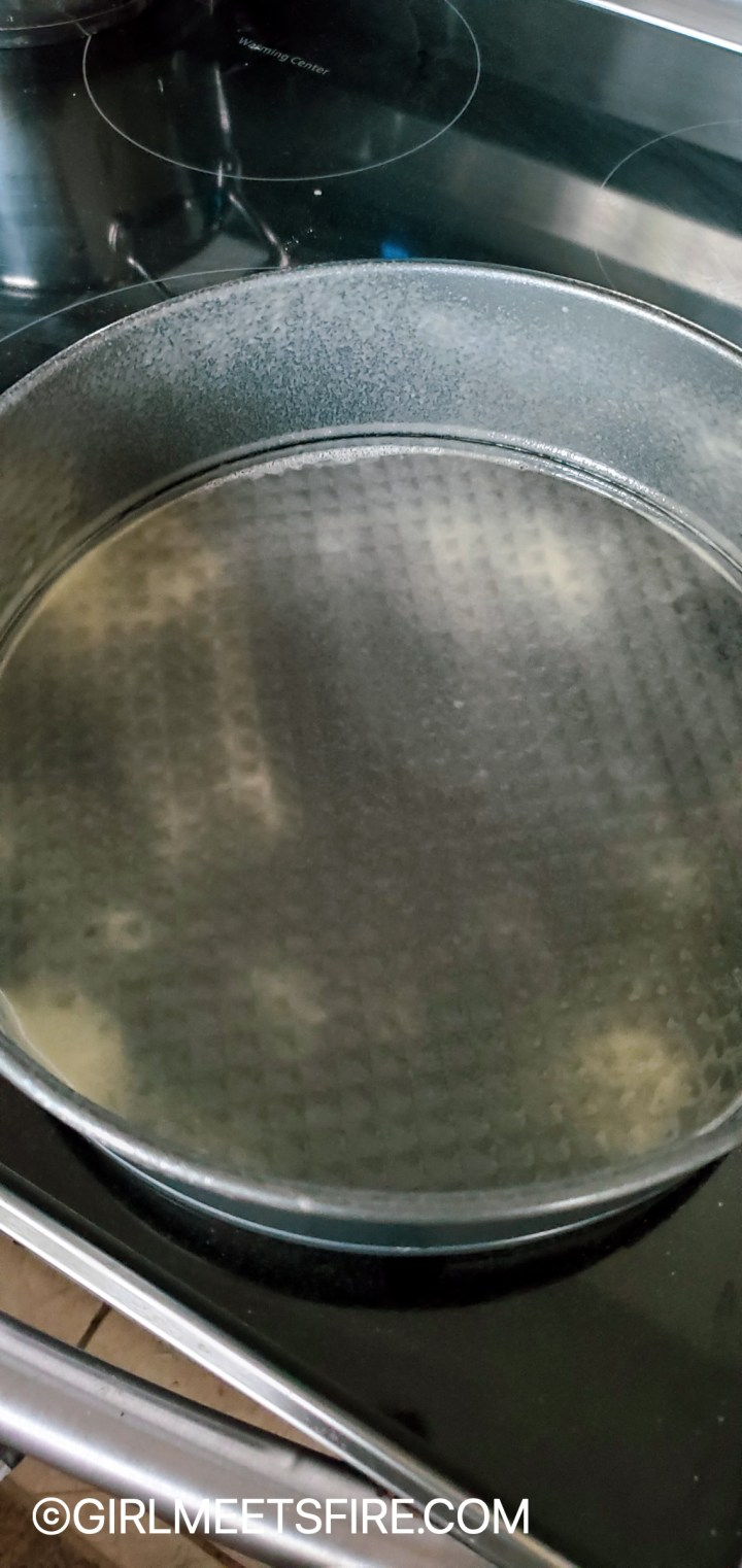 The cake pan used to make the cake sprayed with PAM food release for baking and flour