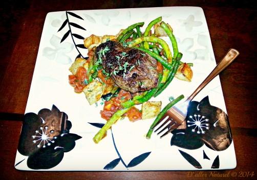 hanger steak plated
