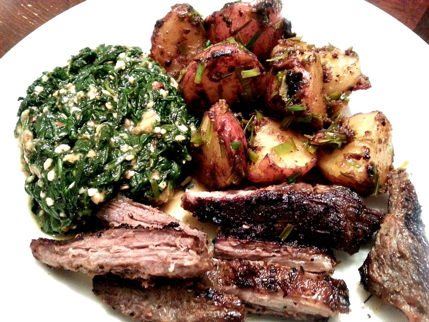 hanger steak with creamed spinach and potatoes 1