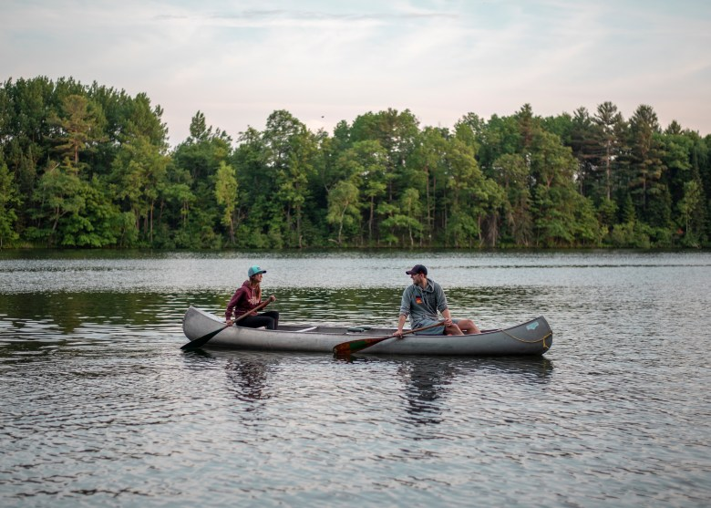 couple on a canoe in wisconsin
