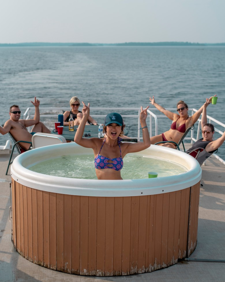 Hot tubbing on a houseboat