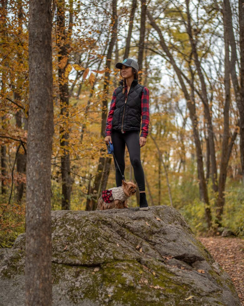 Hiking with dog at Kaplan's Woods Parkway