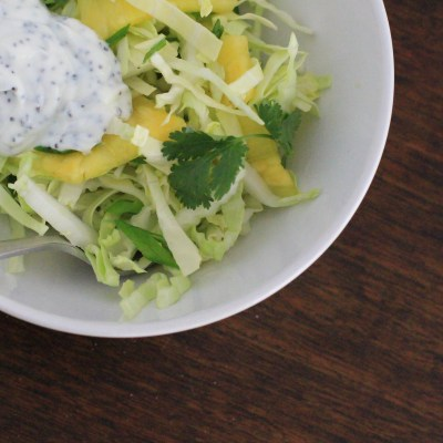 pineapple slaw with creamy poppy seed dressing