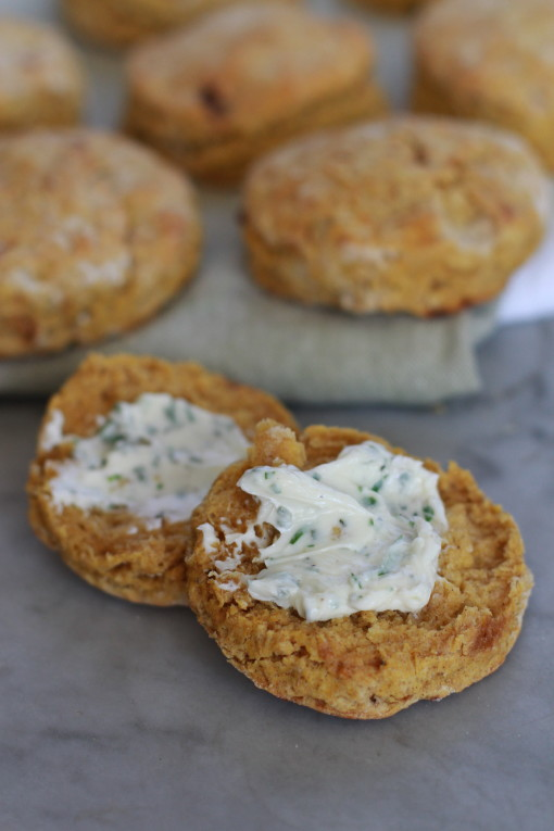 savory whole wheat pumpkin biscuits with parsley-sage butter www.girlontherange.com