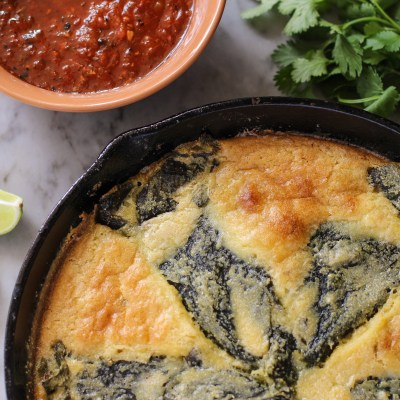 chile rellenos baked in cornbread & fire roasted tomato salsa
