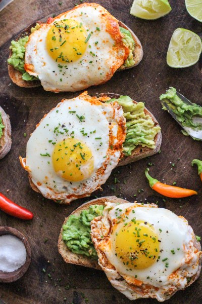 creamy avocado with chili-lime fried eggs
