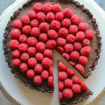 chocolate truffle tart with raspberries