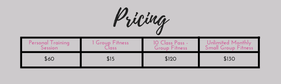prices for personal training