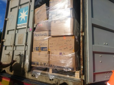 Lorry loaded for Greece