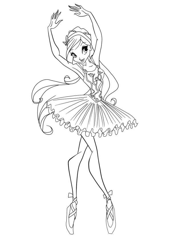 Барби в пуантах танец Раскраски цветочки онлайн